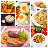 Food collage. Of six delicious dishes Royalty Free Stock Images