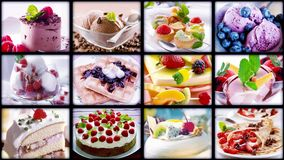 Food collage. Cakes and ice cream. stock video footage