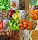 Food Collage. A collection of food photos to depict healthy eating or food preparation Royalty Free Stock Photography