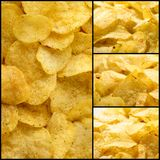 Food collage. Corrugated golden chips potato texture Royalty Free Stock Photos