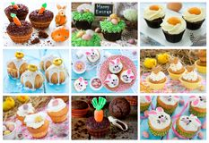 Food collage Easter cupcakes. Food collage of Easter cupcakes Royalty Free Stock Photo
