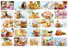 Food collage Easter sweet bread kulich. Food collage of Easter orthodox sweet bread kulich Royalty Free Stock Photos
