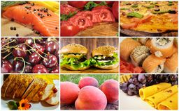 Food collage, fish, vegetables, fruit,. Food collage fish vegetables fruit cherry meat peach dish grapes pepper spicesn Royalty Free Stock Photos