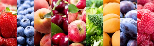 Food collage of fruits and vegetables royalty free stock photo
