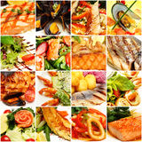 Food Collage. Gourmet Restaurant Fish and Seafood Royalty Free Stock Photos