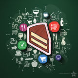 Food collage with icons on blackboard Stock Photography
