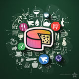 Food collage with icons on blackboard Stock Photos