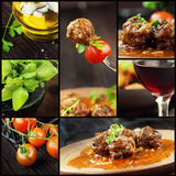 Food collage - meat balls royalty free stock photo