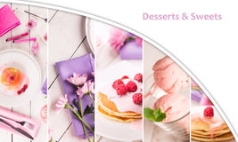 Food collage (pancakes and ice cream) Royalty Free Stock Photos