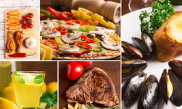 Food collage. From photos of tasty food and drinks Stock Photography