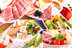 Food collage. From pictures of different food Royalty Free Stock Photo