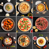 Food collage (top view) royalty free stock photo