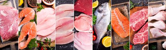 Food collage of various fresh meat, chicken and fish stock images