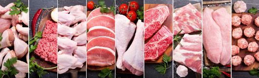 Food collage of various fresh meat and chicken royalty free stock images
