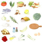 Food collection. Illustration food collection isolated on white background Royalty Free Stock Photography