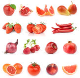 Food collection. All red. Food collection isolated on white background. All red Stock Photo
