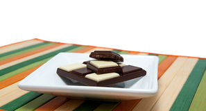 Food collection - Black and white chocolate Stock Photography