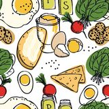 Food collection Delicious breakfast Eggs, spinach, radish and toasts Seamless pattern. Set Stock Image