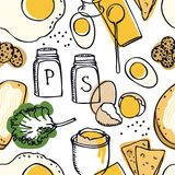 Food collection Delicious breakfast Eggs and toasts Seamless pattern. Set Royalty Free Stock Photography