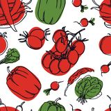 Food Collection Delicious spring salad with radishes, tomatoes and pepper Seamless pattern. Set Stock Photography
