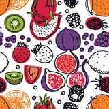 Food collection Fresh dragon fruits, strawberries, raspberries and figs Seamless pattern. Set Royalty Free Stock Images