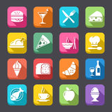 Food. A collection of funny Icons regarding all type of foods and drinks, in a colorful, flat look Stock Images