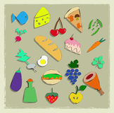 Food collection on the grunge background Royalty Free Stock Photo