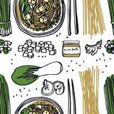 Food Collection Miso Soup Seamless pattern. Set Royalty Free Stock Photo