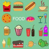 Food collection set menu cartoon Royalty Free Stock Photography