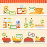 Food Collection On Shelf Royalty Free Stock Photography