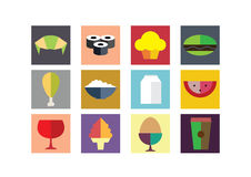 Food Color Flat Icons Royalty Free Stock Images