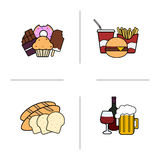 Food color icons set Stock Photography
