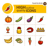 Food color icons set Stock Images