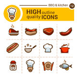 Food color icons set Royalty Free Stock Image