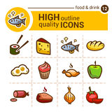 Food color outline icons Stock Images