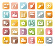 Food, colored, flat icons, vector. Grocery store. Food and drinks, production and sale. White drawings on a colored field with a shadow. Vector clip art Royalty Free Stock Photos