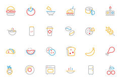Food Colored Outline Vector Icons 3 Royalty Free Stock Image