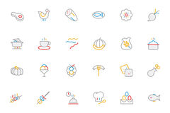 Food Colored Outline Vector Icons 7 Royalty Free Stock Images
