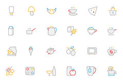 Food Colored Outline Vector Icons 9 Stock Images