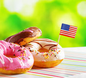 Colorful donuts with flag of USA Royalty Free Stock Photography