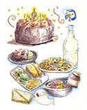 Food colorful illustration Stock Image