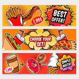 Food Comics Banner Set Stock Photo