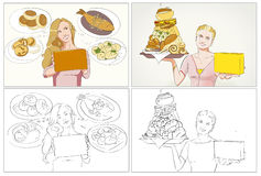 Food commercial storyboards. With women portraits stock illustration