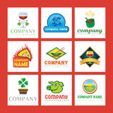 Food company logos. A set of food company logos Stock Photo