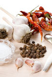 Food composition with spices and dried kitchen stuff Stock Image