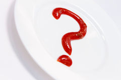 Food concept. Question sign on a plate Stock Image