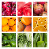 Food concept - collage of various fruits and vegetables Stock Photos