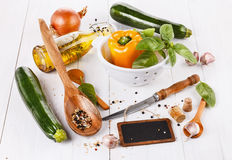 Food concept - cooking vegetables Royalty Free Stock Images