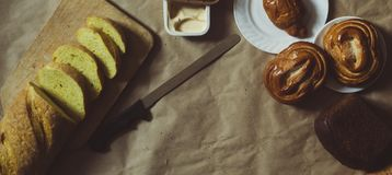 Food concept. Different type breads. Top view. Free space for text. Copy space royalty free stock images