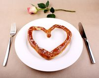 Food concept - eating for love Royalty Free Stock Photo